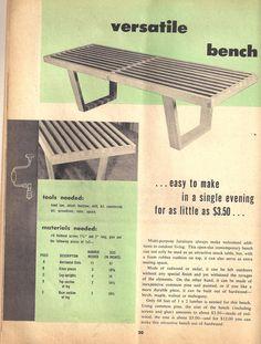 DIY Nelson Bench - Vintage 1955 - Imgur  Actual plans: http://forums.finewoodworking.com/sites/forums.finewoodworking.com/files/comment_upload/105263/nelson_bench_specifications1.pdf