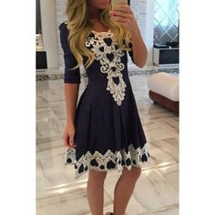 $12.99 Women's Stylish 1/2 Sleeve Lace Splicing Round Neck A-Line Dress