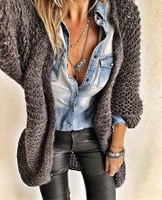 Denim and leather # favecombo # winter # rain # santorini # greece - winter outfits frauen - Modetrends Mode Outfits, Fall Outfits, Casual Outfits, Fashion Outfits, Womens Fashion, Layering Outfits, Casual Street Style, Casual Chic, Boho Chic