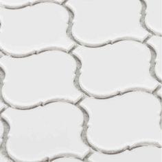 Large Gloss Finish Arabesque Whisper White Mesh Mosaic