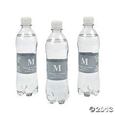 Personalized Monogram Bottle Labels - Silver