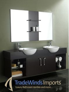 """67"""" Elios Double Sink Vanity from www.TradewindsImports.com for $1,350.00.  With its side, open shelves and sleek Espresso finish, the 67"""" Elios Double Sink Vanity is an aesthetic masterpiece. It boasts a wood cabinet with an original handmade design, and offers 2 cabinet compartments, 2 open shelves and a unique sink design that will make your vanity the talk of the neighborhood."""