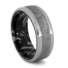Mokume Gane Ring with Tungsten Edges and Gibeon Meteorite Inlay, Mokume Wedding Band.