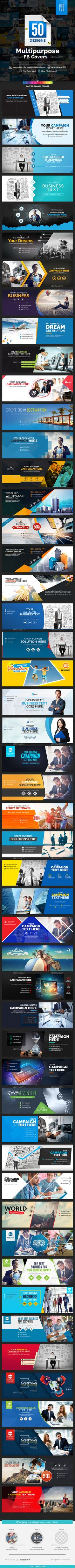 Multipurpose Facebook Covers Design - 50 Designs - Facebook Timeline Covers Template PSD. Download here: https://graphicriver.net/item/multipurpose-facebook-covers-50-designs/16957831?s_rank=11&ref=yinkira