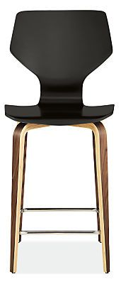 Black w Walnut OR White with Cherry - Pike Counter Stool with Wood Base - Counter & Bar Stools - Dining - Room & Board