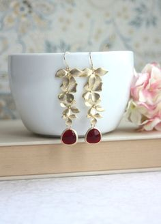 Cascading Long Gold Orchids, Dark Red Maroon Matte Gold Plated Framed Glass Drops DangleEarrings. Bridesmaids Gift. Red Wedding.