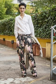 #JaniceAlida and her fab floral pants in Milan. #offduty