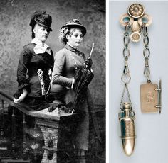 This tintype captures a woman wearing the Tiffany chatelaine shown at right, circa 1885. The piece includes a combination perfume bottle and vinaigrette, left, and notebook with pencil.