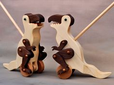 Tyrannosaurus Rex Push Toy Animated Wooden Dinosaur Toy For Kids, Toddlers Boys…
