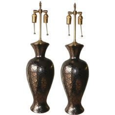 Pair of  1970's  Portuguese vases with lamp application. | 1stdibs.com