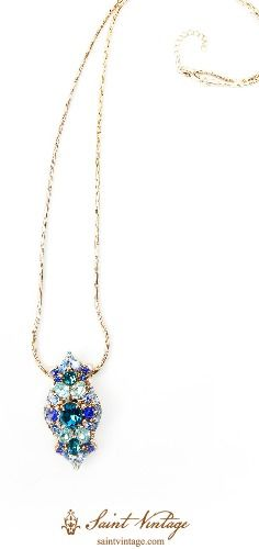 Wrap your neck in luxury! Beautiful Swaroski crystals in various shades of blue. - www.saintvintage.com