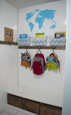 mudroom, back pack organization, kids, homework organizing, To see more click on post or visit http://ourhousenowahome.com/