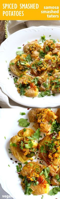 Indian Spiced Smashed Potatoes with Mustard Ginger Temperin