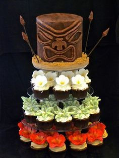 Hawaiin Tiki Head Luau Cake with Tropical Flower Cupcakes