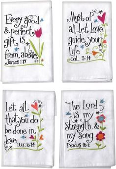 We just love these towels and not only are they pretty, the messages just fill our Spirit with love and acceptance that only comes from God. Each towel is made of a cotton blend material, each printed