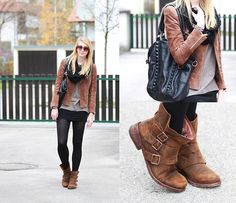 Mango Leather Jacket, Opus Scarf, Felmini Boots, Liebeskind Bag- BLACK AND BROWN