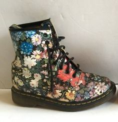 Vintage Doc Dr Martens Flower Boots UK 4 US 6 6 5 Floral Leather Sienna Miller | eBay