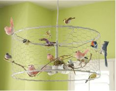 DIY Bird chandelier made from old lamp shade, chicken wire, and cheap bird ornaments!!