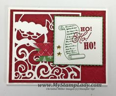 Stampin' Up! Greetings from Santa with Detail Santa Thinlit and Stitched Shapes Framelits Chrismas card from www.mystamplady.com