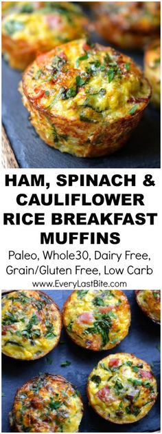 Ham, Spinach and Cauliflower Rice Breakfast Muffins