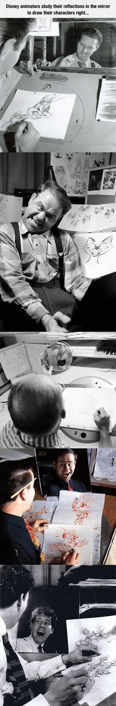 Animators At Work. Studying their own faces to get the expression right. I'm not sure why it says Disney when the first character is clearly Bugs Bunny who is not a Disney character.