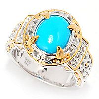 140-505 - Gems en Vogue 10 x 8mm Oval Sleeping Beauty Turquoise & White Zircon Ring