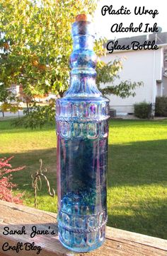 2d97e4d7902c Alcohol Ink and Plastic Wrap on a Glass Bottle