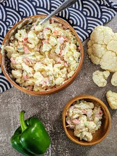 Clean Eating Salads, Healthy Salads, Bacon Salad, Cauliflower Cheese, Pickling Cucumbers, Bite Size, Nut Free, Mayonnaise, Salad Recipes