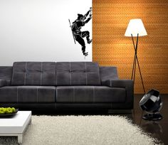 Ninja Vinyl Wall Decal Сlimbing Man Cutout Silhouette Japanese Night Mountain Clamber in Darkness
