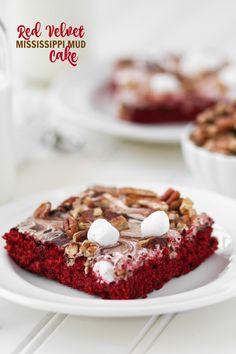 Red Velvet Mississippi Mud Cake has a gooey marshmallow topping. A definite mood booster! Velvet Cake, Red Velvet, Easy Birthday Cake Recipes, Delicious Desserts, Dessert Recipes, Cupcake Cakes, Cookie Cakes, Cupcakes, Cooking