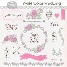 Watercolor wedding clipart by burlapandlace on Creative Market
