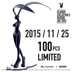 [ PLAYBOY COLLECTOR'S EDITION ART TOYS ] PLAYBOY X twelvedot 100 pcs Limited Launching Date 2015.11.25(wed) Price Korea 450,000 KRW International 400 USD Product Contents Shipping Fee : Shipping fee not includedShipping : Within 7~10 days after order Size : H 19.3 inch W 8.6 inch Material : PU, ABS, Manufacturer : Blitzway, CoartismCountry of Origin : China Contact : coartism@coartism.com #playboy #playboyarttoys #twelvedot #blitzway #coartism Playboy Enterprises, Designer Toys, 10 Days, The Collector, The 100, Abs, Product Launch, The Originals, Style
