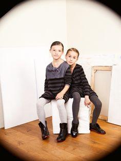 Katrina Tang Photography for Xenia Joost design AW 13. Studio shoot with two siting girls, striped shirts, white background #katrinatang #tangkatrina