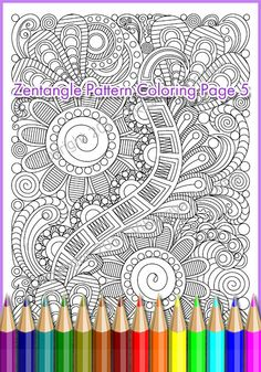 Coloring page PDF zentangle pattern, adults and children, printable art tangle inspired  Print A4 paper, paint the zentangl as you like, insert a