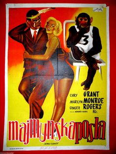 MONKEY BUSINESS 1952 MARILYN MONROE MEGA RARE ARTWORK UNIQUE EXYU MOVIE POSTER