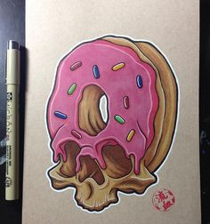 Doughnuts that make you go nuts! Artist by jackofthedust Donut Tattoo, Cupcake Tattoos, Food Tattoos, Body Art Tattoos, Graffiti Drawing, Graffiti Art, Tattoo Drawings, Cool Drawings, Zombie Drawings