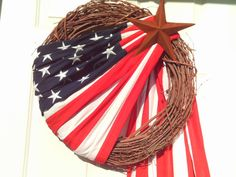 Primitive Patriotic Flag Wreath by imaproudcrafter on Etsy, $48.00