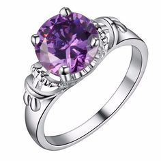 Silver Plated Purple Cubic Zirconia Ring Size Q