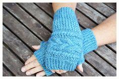 Turquoise Fingerless mittens  Fingerless mittens   by ilovemyyarn