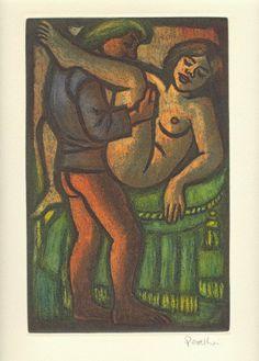 El Palafrenero - El Decamerón de G. Boccaccio, con grabados originales de C. Perellón - Jornada III :: Novela segunda: Un palafrenero se acuesta con la mujer del rey Agilulfo y éste lo advierte, sin decir nada; lo encuentra y le corta el pelo; el tonsurado tonsura a todos los demás y así se salva de la mala ventura.  © 2008 Liber Ediciones :: http://www.arsliber.com/bibliofilia/el-decameron-giovanni-boccaccio-celedonio-perellon/tercera-jornada-el-decameron/