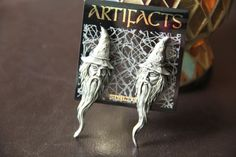 JJ Jonette Artifacts Rare Signed Vintage MERLIN the Magician Sorcerer Earrings Mystical Pewter New by ImpressionsNColor on Etsy