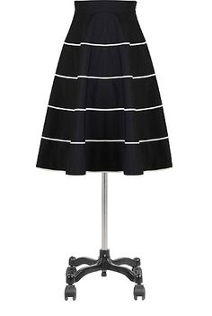 Tiered contrast trim poplin skirt