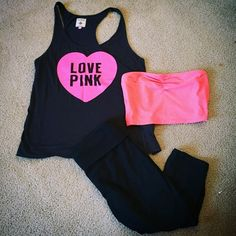 PINK Tank & Crop Legging Bundle Super soft and flowy VS PINK tank top size M, Size M Arizona Bandeau, Target Brand cropped leggings Size M. Worn maybe once of twice but in really good condition. Victoria's Secret Tops Tank Tops
