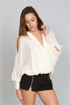 Peek-a-Boo Blouse  Also available in Sea-Green, and Black!  20% off site-wide!  Available now on www.shop-plume.com