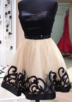 2016 Sweetheart Homecoming dresses, Unique black Homecoming dresses, Lace Homecoming dresses, sexy Homecoming dresses, Custom prom dresses