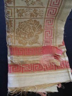 Antique Turkey Red Scrap Tablecloth As Is Pre 1880u0027s Fabric Greek Key Border