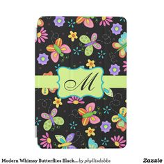 Shop Modern Whimsy Butterflies Black Monogram iPad Mini Cover created by phyllisdobbs. Ipad Pro Apps, Ipad Mini Wallpaper, Cool Phone Cases, Tablet Cases, Butterfly Pattern, Monogram Initials, Tech Accessories, Design Elements, Colorful Backgrounds