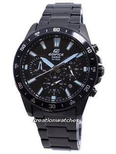 Stainless Steel Case and Bracelet, Quartz Movement, Mineral Crystal, Black Dial, Analog Display, Chronograph Function and 12/24 Hours Display. Stainless Steel Bracelet, Stainless Steel Case, Men's Watches, Watches For Men, Seiko 5 Sports Automatic, Casio Edifice, Black Crystals, Casio Watch, Chronograph