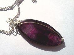 Wire Wrapped Dark Amethyst Quartz Necklace by PinkCupcakeJC, $15.00