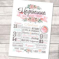 Постер/плакат достижений детский метрика 1 год. Handmade. Метрика